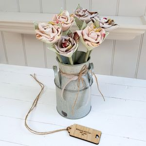 4th Anniversary Linen Roses In Vintage Churn With Tag
