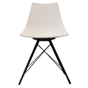 White Oslo Chair With Black Metal Legs - furniture