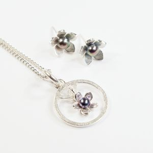 Silver And Pearl Gilia Flower Frame Small Pendant Set - necklaces & pendants