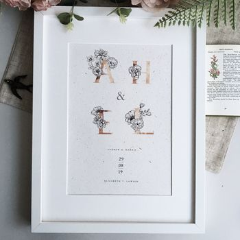Personalised Initials Flower Print