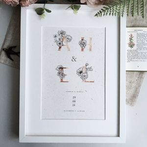 Personalised Initials Flower Print - 1st anniversary: paper