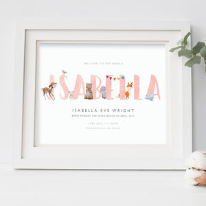 New Baby, Christening Print | Woodland Animals 8x10 - christening gifts