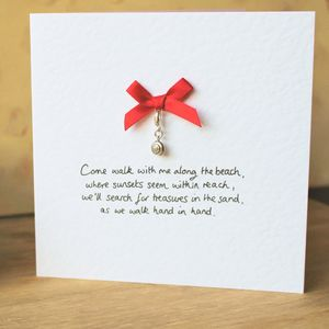Personalised Keepsake Card With Silver Shell Charm