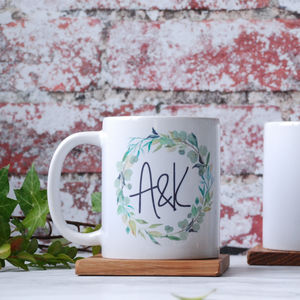 Personalised Green Foliage Wreath Monogrammed Mug - view all new