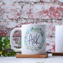 Personalised Green Foliage Wreath Monogrammed Mug