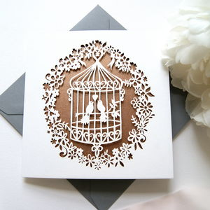 Rose Gold Lovebirds Birdcage Card - anniversary cards