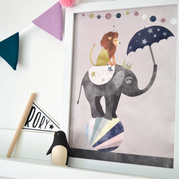 Fun At The Circus Modern Children's Nursery Print