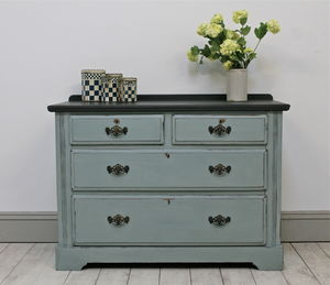 Distressed Painted Antique Chest Of Drawers - furniture