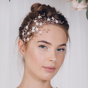 Floral Gold Silver Or Rose Gold Bridal Headpiece Cherry