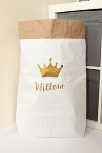 Personalised Crown Paper Storage Bag - children's room