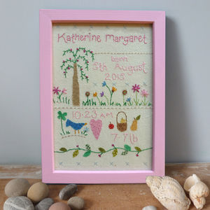 Embroidered Baby's Birthday Picture - nursery pictures & prints