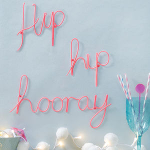 Hip Hip Hooray Pink Wire Wording - what's new