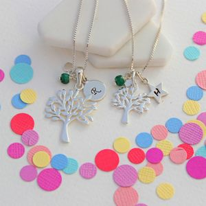 Mama Et Moi Tree Of Life Necklaces With Birthstones - children's jewellery