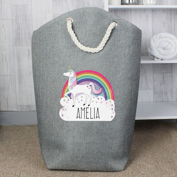 Personalised Unicorn Grey Kid's Storage Bag