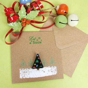 Christmas Card With Handmade Tree Brooch