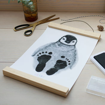 Personalised Baby Penguin Footprint Kit, Unframed