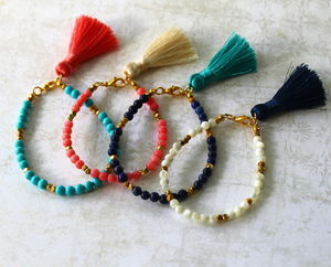 Children's Semi Precious Stone Indian Tassel Bracelet