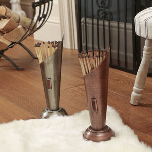 Copper Or Silver Hammered Conical Match Canisters - new in home