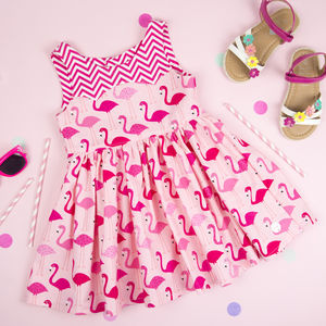 Girls Flamingo Print Party Dress - wedding and party outfits
