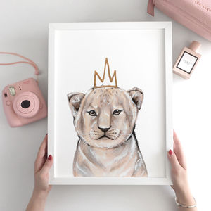 Nursery Decor Lion Cub Animal Print