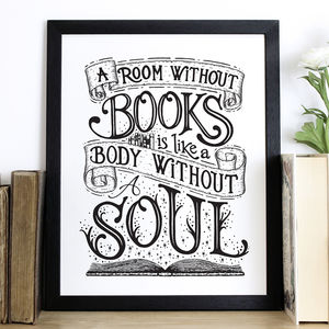 'A Room Without Books' Hand Lettered Screen Print