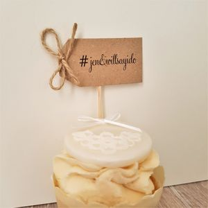 Set Of Ten Personalised Hashtag Wedding Cupcake Toppers - table decorations