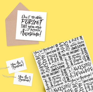 Gift Wrap, Tags And Card Set : You Are Awesome - ribbon & wrap