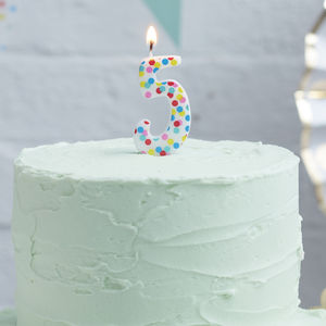 Polka Dot Candle Number Five Birthday Cake Candle - decoration