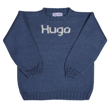 Boys name sweater Air Force blue