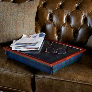 Bean Bag Cushioned Lap Tray In Blackwatch/Heather - tableware