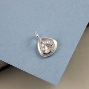 Personalised Silver Paw Print Charm