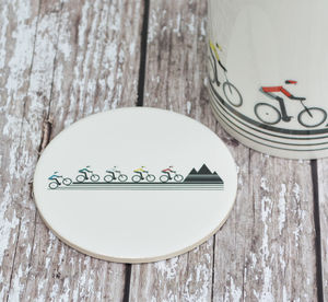 Mountain Bikers Ceramic Coaster