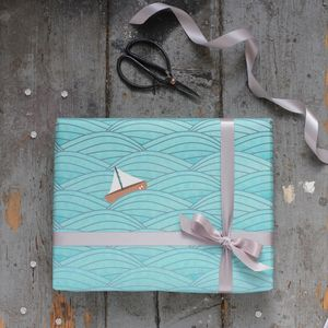 Sailboat Gift Wrapping Set - ribbon & wrap