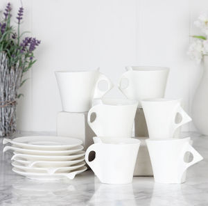 Set Of Six Crisp White Espresso Cups And Saucers - cups & saucers