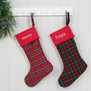 Luxury Personalised Christmas Santa Stocking Tartan