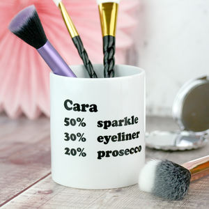 Percentage Personalised Make Up Brush Pot For Her