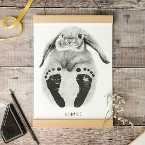 Personalised Baby Rabbit Footprint Kit - 1st birthday gifts