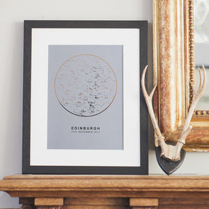 Grey And Copper Foil Personalised Star Map Print - best valentine's gifts for him