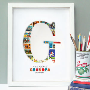 Personalised Vintage Stamp Letter Art Gift - mixed media & collage