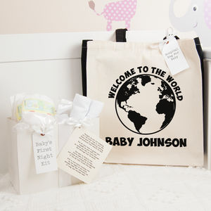 Personalised World Hospital Bag And First Night Kit