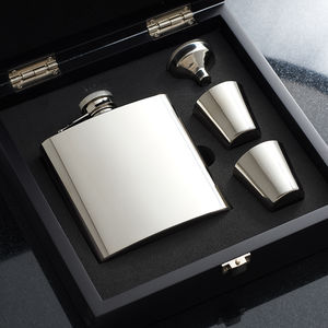 Personalised Hip Flask Box Set With Engraved Cups - 50th birthday gifts