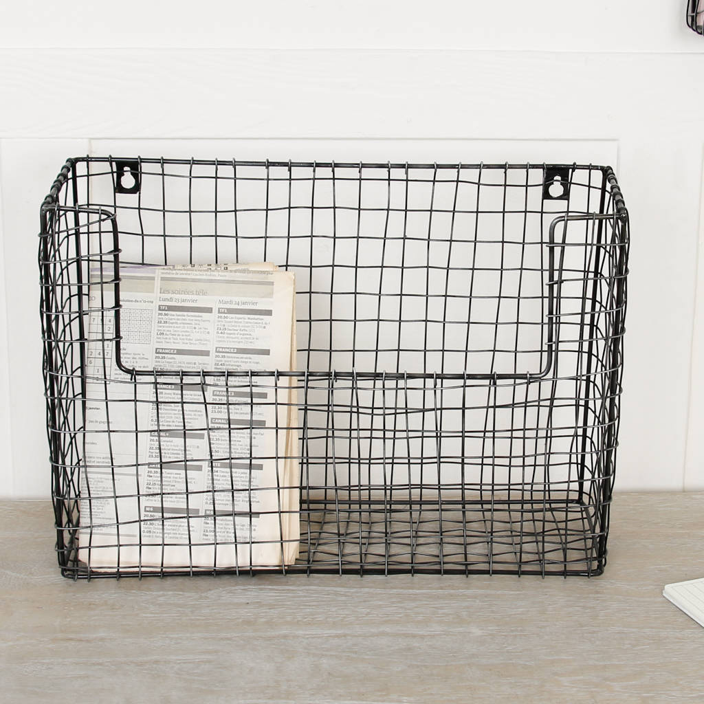Superieur Set Of Three Wall Mounted Black Wire Storage Baskets