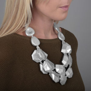 Chunky Layered Rock Necklace With Gift Box - statement jewellery