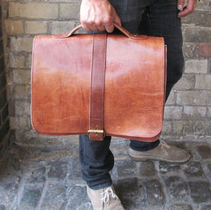 Satchel Cartable Leather Briefcase - laptop bags & cases