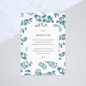 70 Bespoke Eucalyptus Invites With Envelopes - wedding stationery