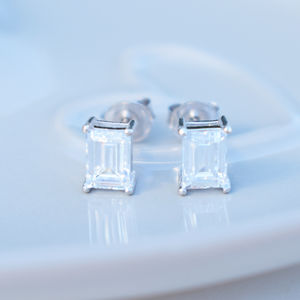 9ct Gold Emerald Cut Cubic Zirconia Studs - earrings