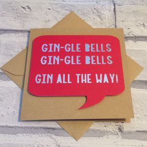 Funny Papercut 'Gin All The Way' Christmas Card