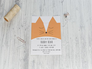 Cute Fox Christening Invitation - invitations