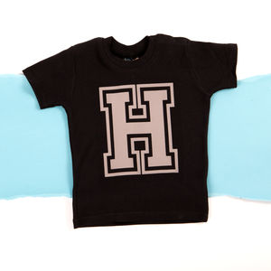 Personalised Flock Baby And Toddler Initial T Shirt - clothing