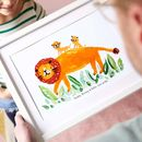 Personalised Father's Day Lion Cub Print